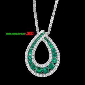 گردنبند نقره ای با نگین سبز